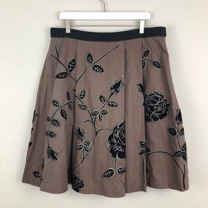 Anthropologie Odille Embroiled Velvet Floral Skirt